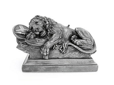 Silver Plated Electrotype Model of the Lion of Lucerne as a Paperweight