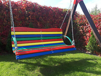 Colourful Wood Swing in Garden  High Quality Outdoor Wood Bench Chair