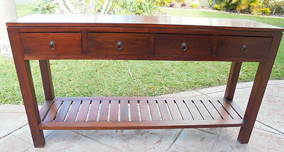 4 Drawer Wooden Hall Table Mahogany Wood