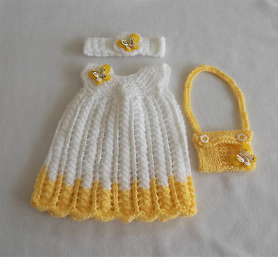 """Hand knitted dolls clothes. Fit 16"""" baby doll."""