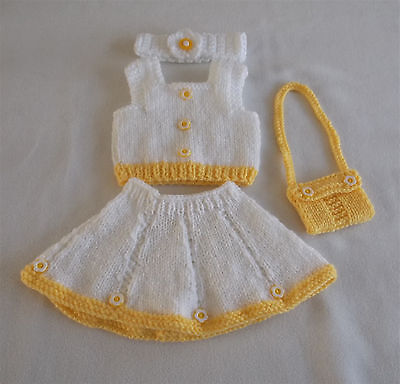 "Hand knitted dolls clothes. Fit 16"" baby doll."