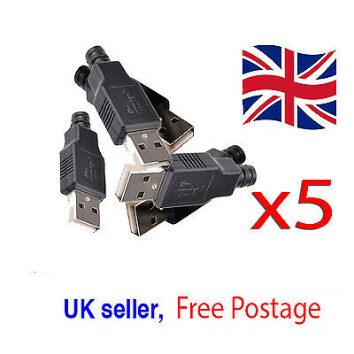 5x USB2.0 Type-A Plug 4-pin female Adapter Connector Jack & Black Plastic Cover