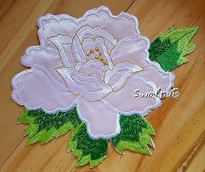 PINK Green Iron on Peony Rose Fabric Flower Embroidered Patch Applique Motif