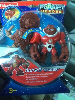 """Fisher-Price Planet Heroes Mars """"Digger"""" 2007 New In Box Pull Cord Action Figure"""