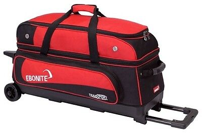 Ebonite Transport 3 Ball Roller Bowling Bag with Retractable Handle Color Red