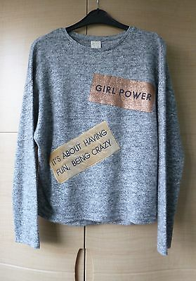 Bnwt, Edgy & Fun, Light Grey Sweatshirt From Zara Girls - Size 11-12 Years