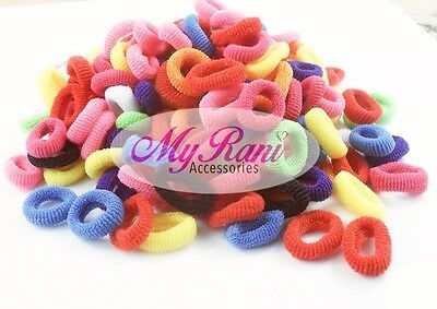 Pack Of 100 Mixed Colours Girls Baby Toddler Kids Elastic Hair Bands Bobbles