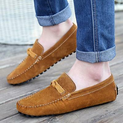 Men Genuine Leather Shoes Antiskid Loafers Driving Casual Shoes US 8