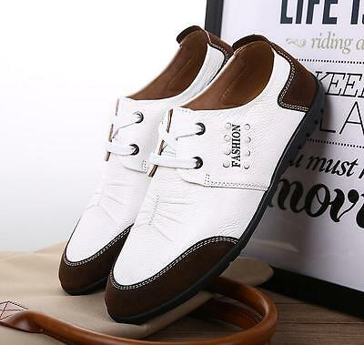 Men Genuine Leather Shoes Antiskid Loafers Driving Casual Shoes US 10