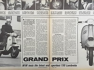 LAMBRETTA GRAND PRIX 150cc SCOOTER - ORIGINAL 1969 SCOOTER ROAD TEST - 3 PAGES