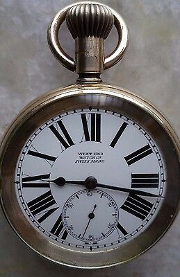 WEST END WATCH CO. Pocket Watch Procelain Dial Swiss made Rare