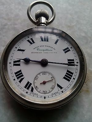 WEST END WATCH CO COMPETITION BOMBAY CALCUTTA Pocket Watch procelain Dial Swiss