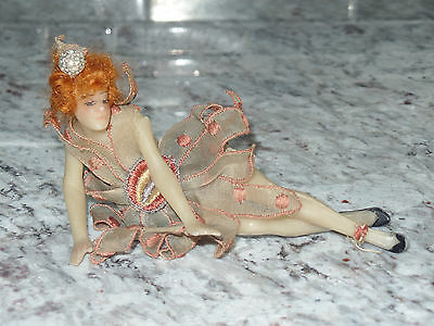 VINTAGE POURED  WAX DOLL flapper lady