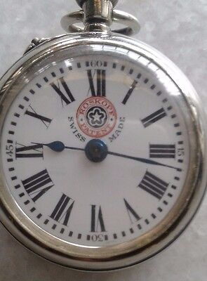 Roskopf Patent Winding Pocket watch Swiss Made Miniature Porcelain dial Nickel