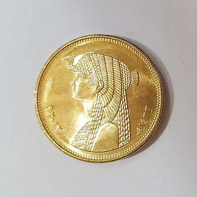Egypt Golden 50 Piastres Queen Cleopatra Coin Unc Scarce No Longer Minted