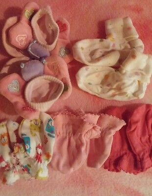 Newborn Infant Girl-booties mittens and socks