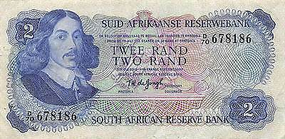 South Africa  2  Rand  ND. 1974  P 117a Series D/70 Circulated Banknote LB0617j