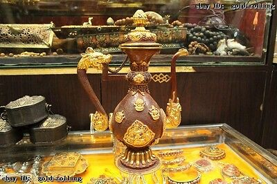 "11""Tibet Buddhism Folk excellent Bronze 24K Gold Dragon flagon water jug Statue"