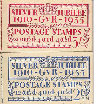 GB KGV Pair of 1935 Silver Jubilee Booklets, Stamp panes are stuck down