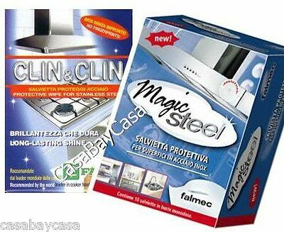 falmec magic steel salviette  CLIN CLIN FABER+ MAGIC STEEL FALMEC SALVIETTE PULIZIA acciaio inox ...