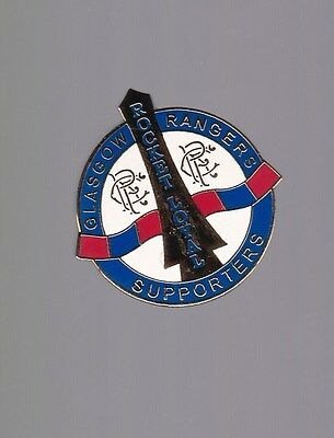 Glasgow Rangers Gers Rocket Supporters Club Gold Gilt Pin Badge