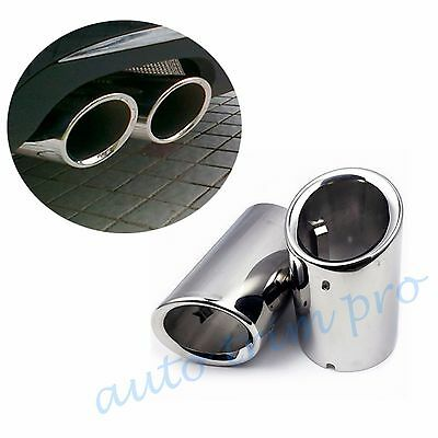 2pcs Steel Tail Pipe Muffler Rear Tip Exhaust For Audi A4 B8 1.8T 2.0T 2009-2017