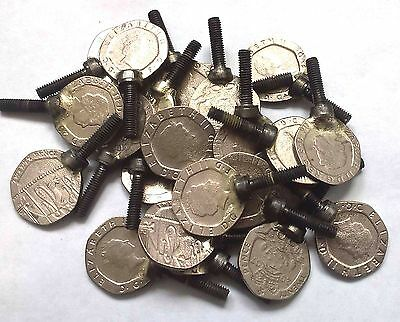 Tattoo Machine 1 X 20 Pence Tube Vice Coin Screw M4 Thread X 16 Mm Lenght