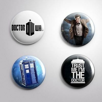 4 DOCTOR WHO TV SCIENCE -FICTION - Pinbacks Badge Button Pin 25mm 1''..