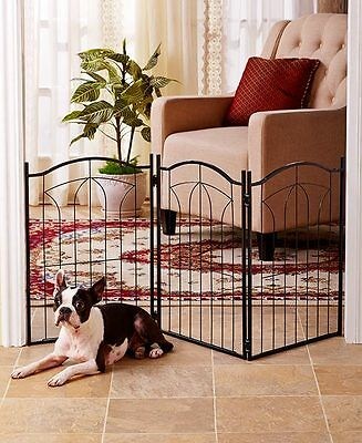 Classic Metal Arch Pet Dog Puppy Gate Stylish Adjustable 3 Panel Folding Design