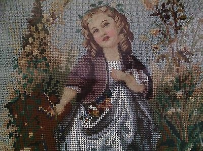 Antique Victorian Hand Embroidered Beadwork Framed Glazed Picture 25x16 Inches