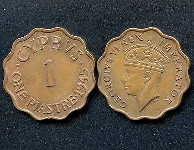 1944 & 1945 Cyprus 1 Piastres Coins