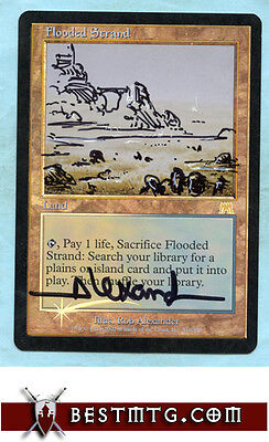 MTG Flooded Strand #A Foil - Judge Promo - Altered & Signed by the Artist