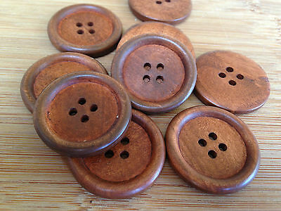 10 x 30mm Brown Wood Buttons Button Wooden Sewing Craft Coat Jacket DIY