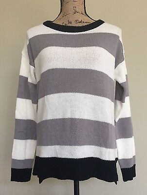 Womens Sweater George & Martha Knit Small Gray White Black S New