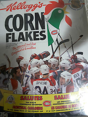 Montreal Canadiens Stanley Cup Kellogg's Full Corn Flakes Box 1993! Rare!