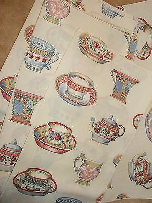 Lot of 6 Vintage cotton napkins 17 x 17 inches with printed on tea cups! SWEET!