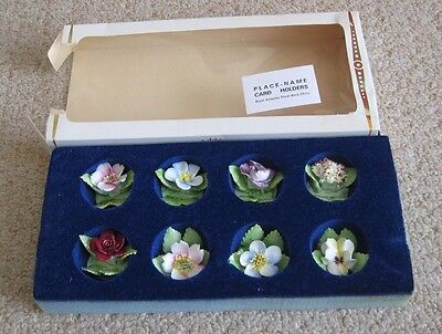 Vintage Royal Adderley Floral  Bone China   8 Place Name Holders /Card Holders