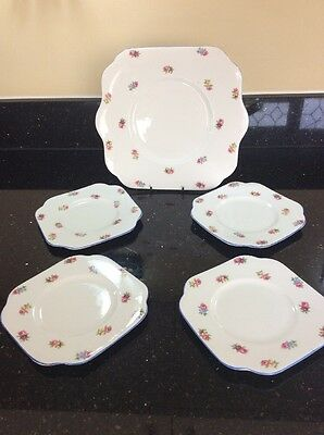 Very Pretty Set Of 1 Cake Plate And 4 Teaplates By Colclough Bone China