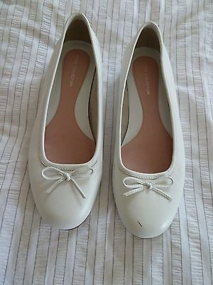 M&S Limited Collection Leather Ballerina Pumps Flats Size UK 5.5 (39) White