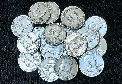 (Lot of 10) Franklin Half Dollars 90% Silver Coins All Full Dates 1948-1963