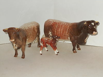 Vintage Rare Beswick Cattle Set Dairy Shorthorn Bull,cow And Calf