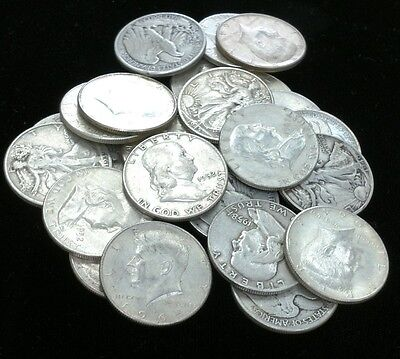 Lot of (12) WALKING LIBERTY, FRANKLIN and 1964 KENNEDY 90% Silver Half Dollars
