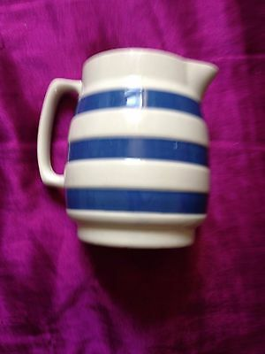 Vintage Pottery Jug. Blue and White Stripe. Staffordshire. Chef Ware