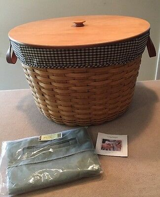 Longaberger 2002 Pot of Gold Work Around Basket w/ Lid, Protector & TWO Liners
