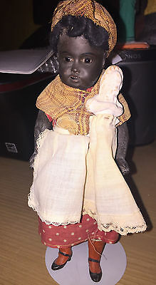 "Kuhnlenz Black Nanny with white baby - 8"" bisque - Rare-circa 1900-1910"
