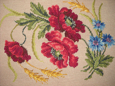 Antique Needlecraft Sampler Blue Cornfield Red Rose Cross Stitch Flower Textile