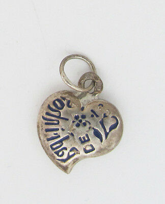 Vintage Portuguese Dizeres Small Enamel Puffy Heart Charm Sterling Silver 925