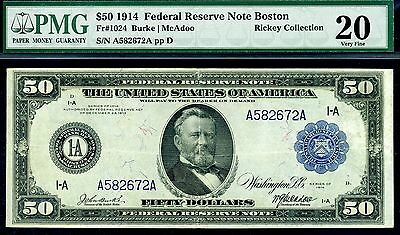 1914 $50 FRN ((Boston)) FR-1024 PMG Very Fine 20 A582672A