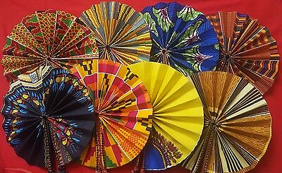 ☆African Kente Folding Leather Hand Fan Mutilcoloured One Size Unisex☆
