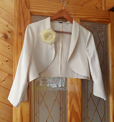 Champagne Satin Bolero Shrug Cropped Jacket with Organza Brooch Size 18-20